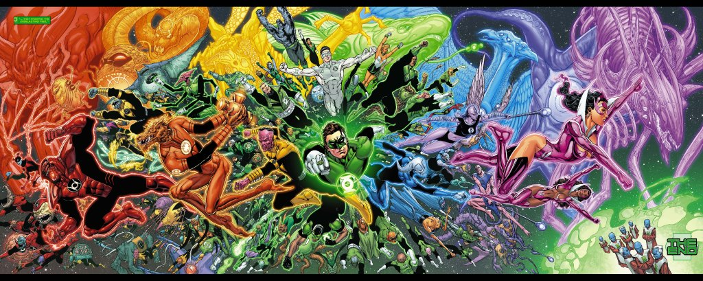 This foldout spread page is by Ethan van Sciver for Green Lantern #20.